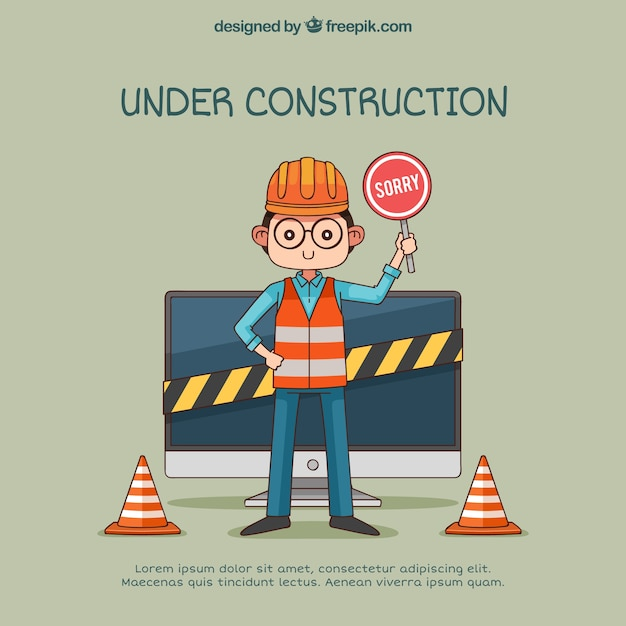 Under construction web template in flat style Free Vector