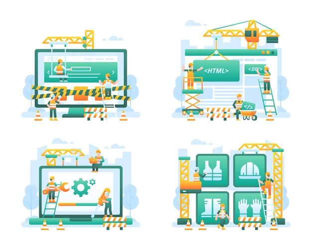 Under construction website illustration collection Premium Vector