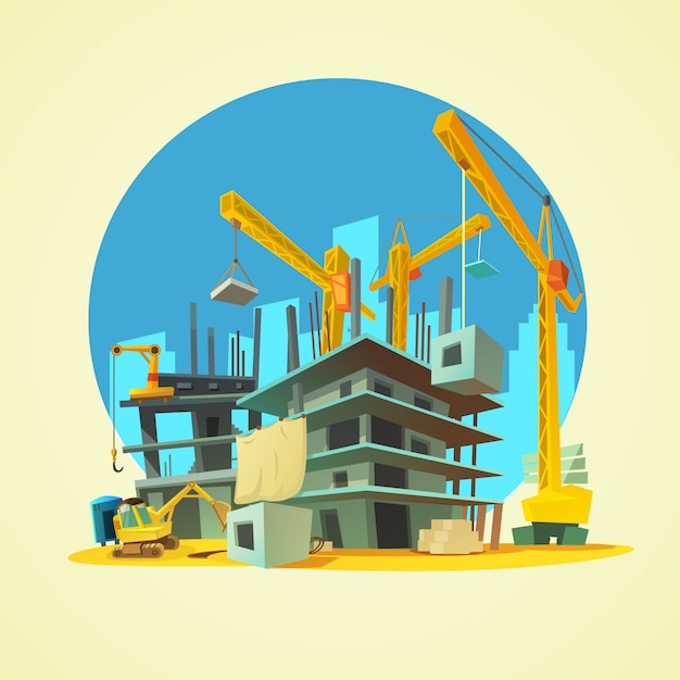 Construction with building crane and excavator on yellow background cartoon Free Vector