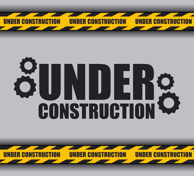 Under construction with caution tape for website Premium Vector