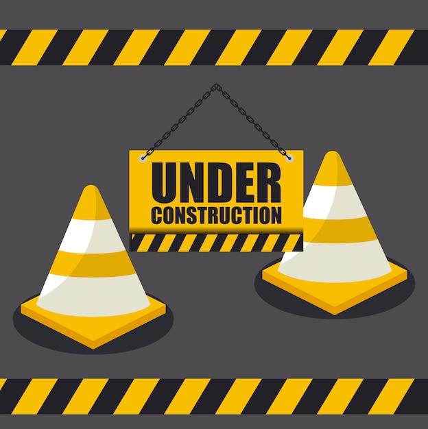 Under construction with cones for website Premium Vector