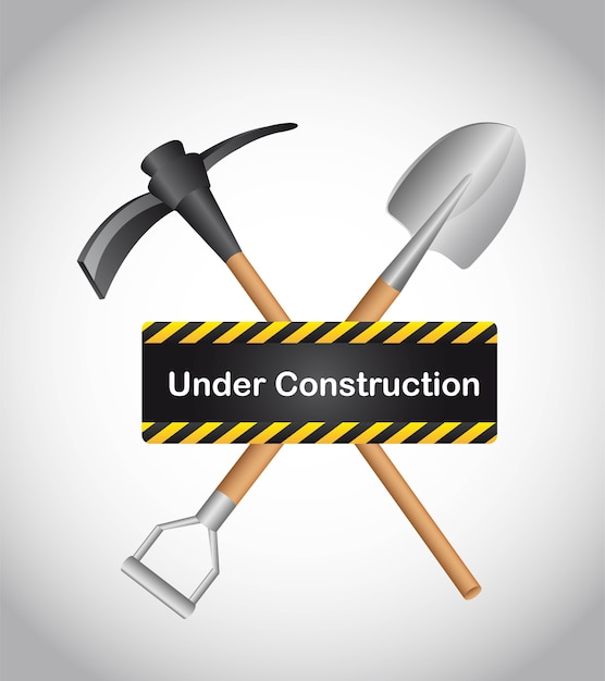 Under construction with shovel over gray background vector Premium Vector