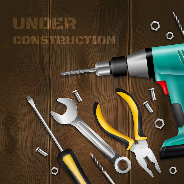 Under construction wooden  with scattered handle instrument for construction and repair works realistic Free Vector