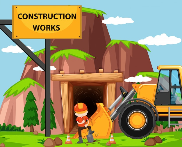 Construction work scene with man and bulldozer Free Vector