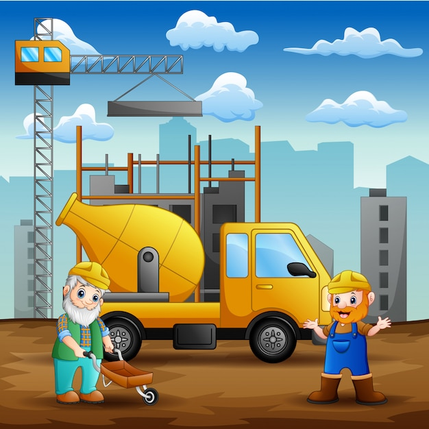 Construction worker at construction site background Premium Vector