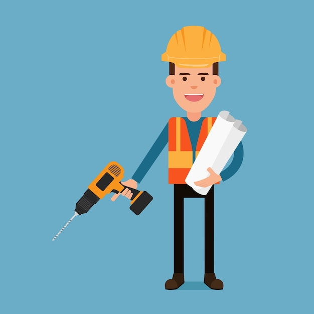 Construction worker holding a drill and blueprint papers. Premium Vector