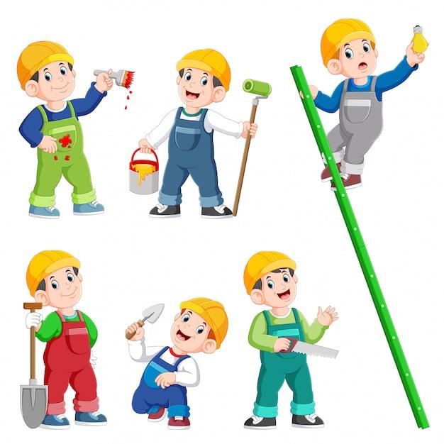 Construction worker people cartoon character posing and doing work Premium Vector