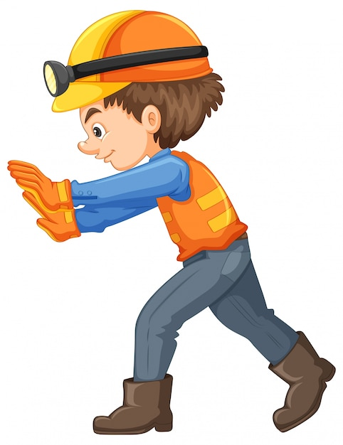 A construction worker on white background Free Vector