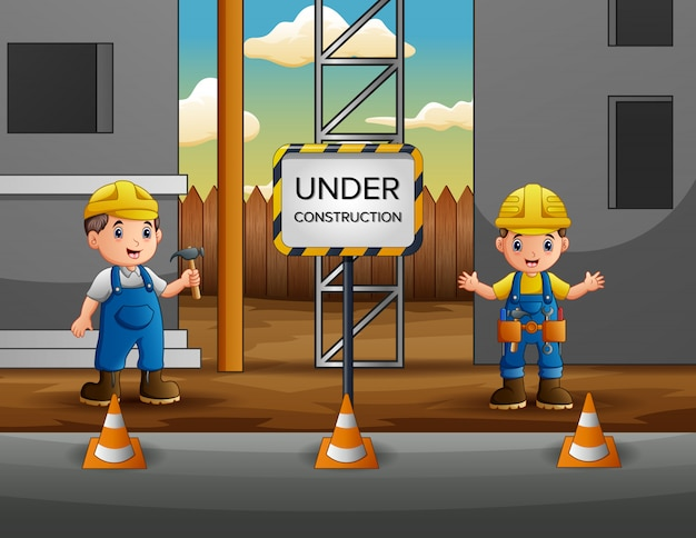 Construction worker with manager at construction site Premium Vector