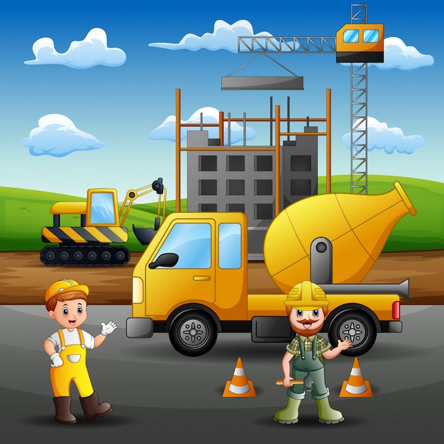 Construction worker at work with crane and machine Premium Vector