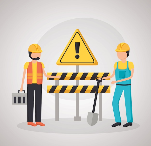 Construction workers barrier shovel Free Vector