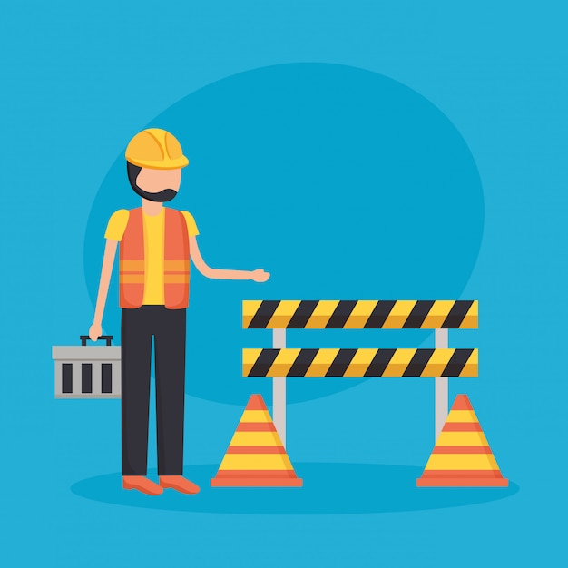 Construction workers barrier Free Vector