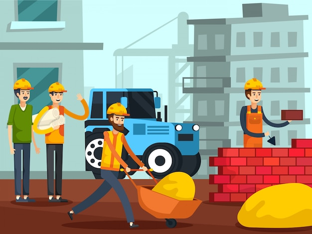 Construction workers characters flat poster Free Vector