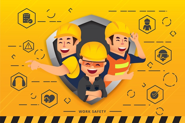 Construction workers and engineers team Premium Vector