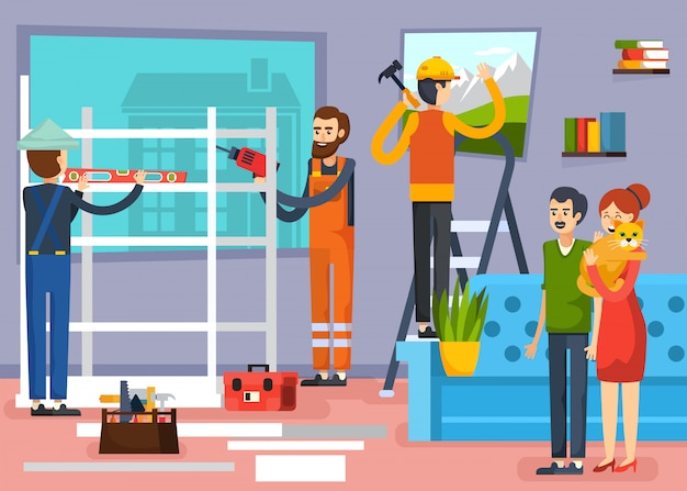Construction workers flat composition poster Free Vector