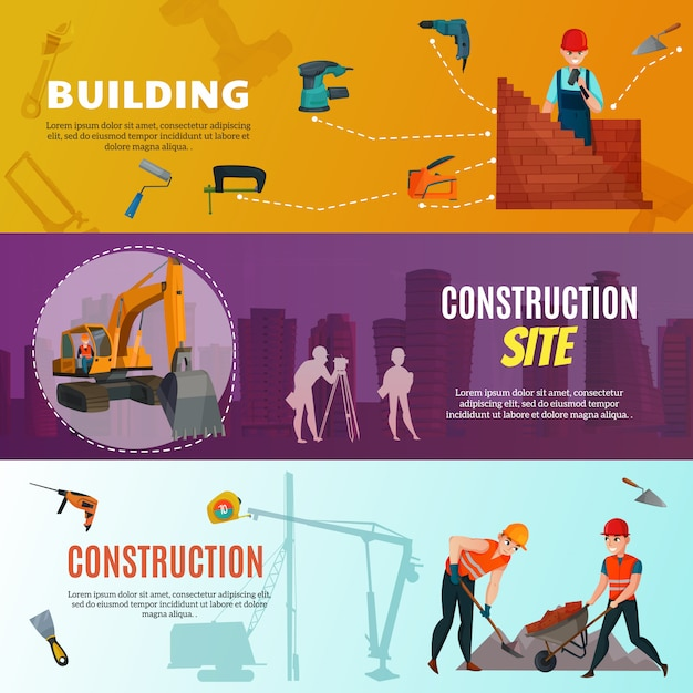 Construction workers horizontal banners Free Vector