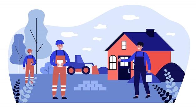 カントリーワーカーの修理または建設の建設労働者 Premiumベクター