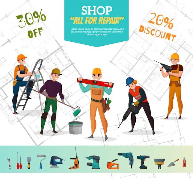 Продажа строительного баннера Бесплатные векторы