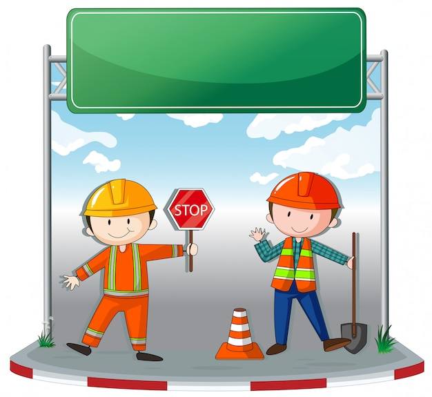 Construction workers at site Free Vector