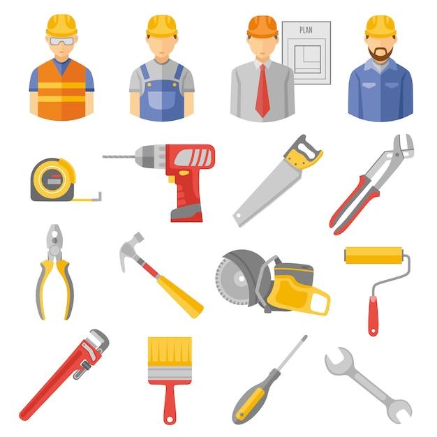 Установленные значки инструментов работников конструкции плоские Бесплатные векторы