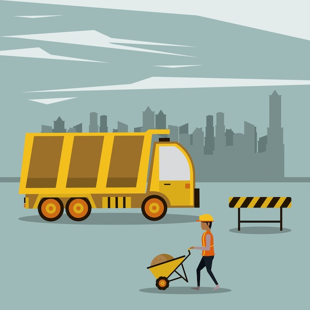 Under construction zone with workers Premium Vector