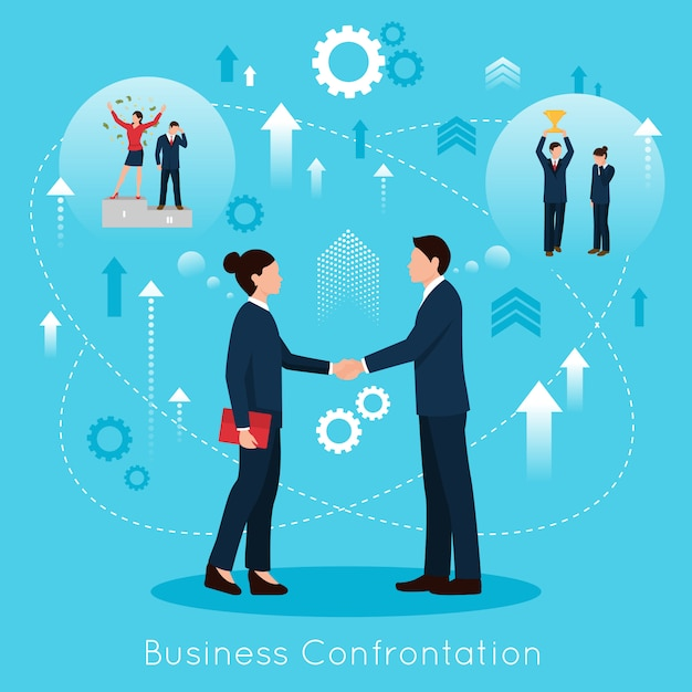 Constructive business confrontation flat composition poster Free Vector