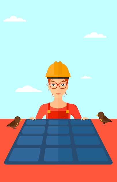 Constructor with solar panel. Premium Vector