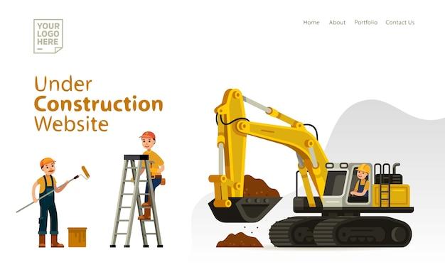 Under constuctrion template website design Premium Vector