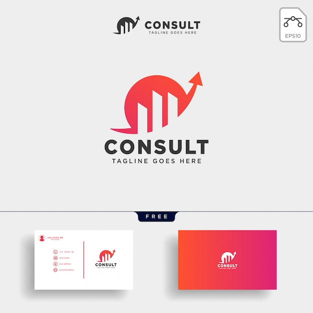 Consult stats logo template vector illustration Premium Vector