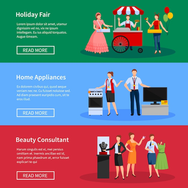 Consultants and street sellers banners set Free Vector
