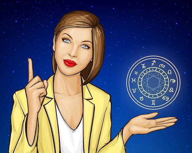 Консультация астролога женщины с зодиакальным кругом Бесплатные векторы