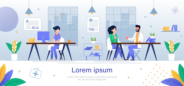 Consultation doctor therapist. banner web page Premium Vector