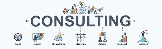 Consulting banner web icon for business. Premium Vector