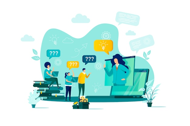 Consulting concept in  style with people characters in situation Premium Vector