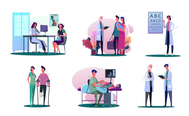 Consulting doctor illustration set Free Vector