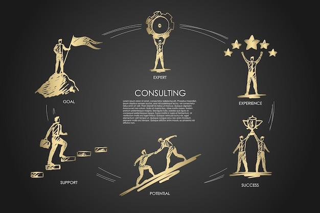 Консультации, эксперт, опыт, успех, потенциал, инфографика цели Premium векторы