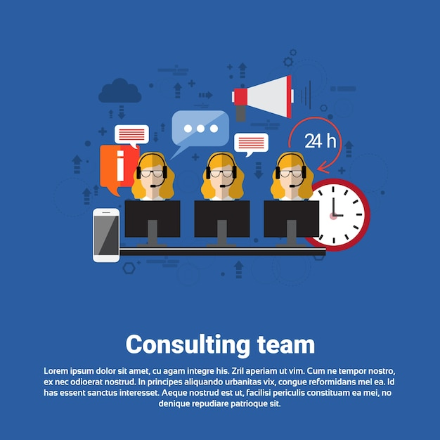 Consulting team support technical online chat Premium Vector