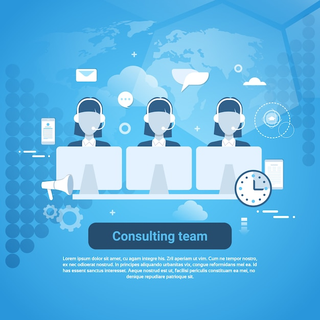 consulting team technical support template web banner with