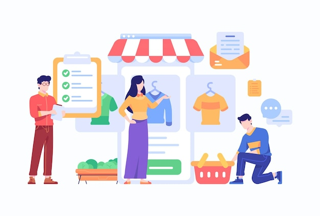 소비자 구매 패션 일 및 온라인 쇼핑 체크리스트 개념 수행 프리미엄 벡터
