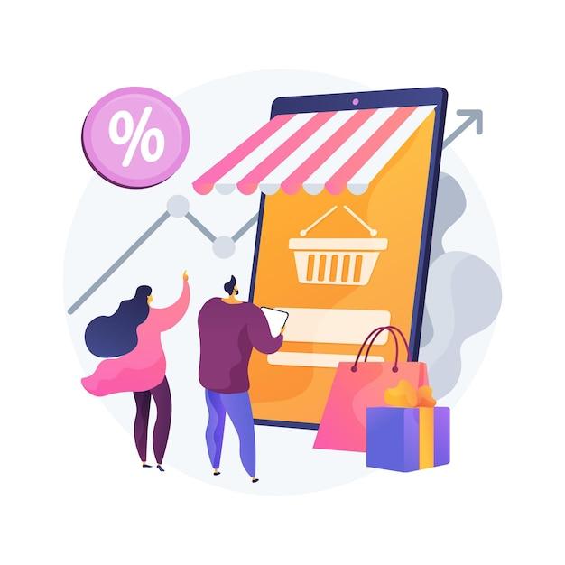 消費者の需要の抽象的な概念図。顧客決定、製品またはサービスの購入、消費者満足度、小売マーケティング、市場価格、消費社会 無料ベクター