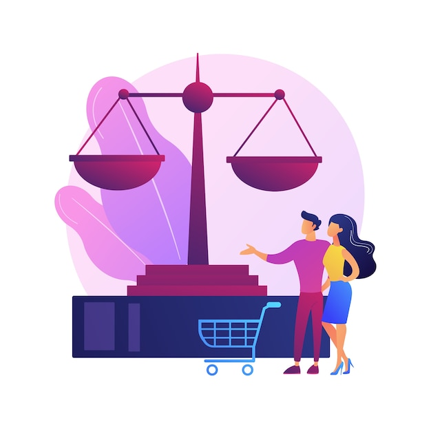 Consumer law abstract concept   illustration. consumer litigation, legal protection service, law firm, judicial agreement, replacement of faulty product, buyer rights Free Vector