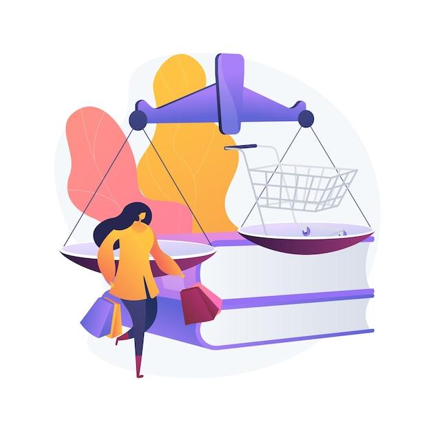 소비자 법률 추상적 인 개념 벡터 일러스트입니다. 소비자 소송, 법적 보호 서비스, 법률 사무소, 사법 계약, 결함이있는 제품 교체, 구매자 권리 추상 은유. 무료 벡터
