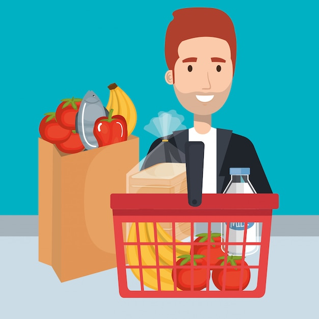 Consumer with shopping basket of groceries Free Vector