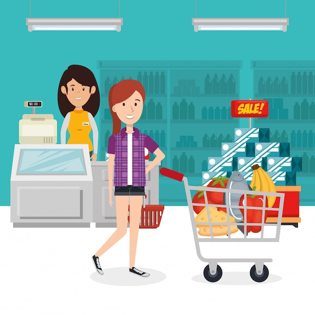 Consumer with shopping cart of groceries Free Vector