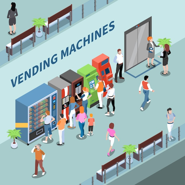 Consumers near vending machines in lobby of business center isometric composition vector illustration Free Vector
