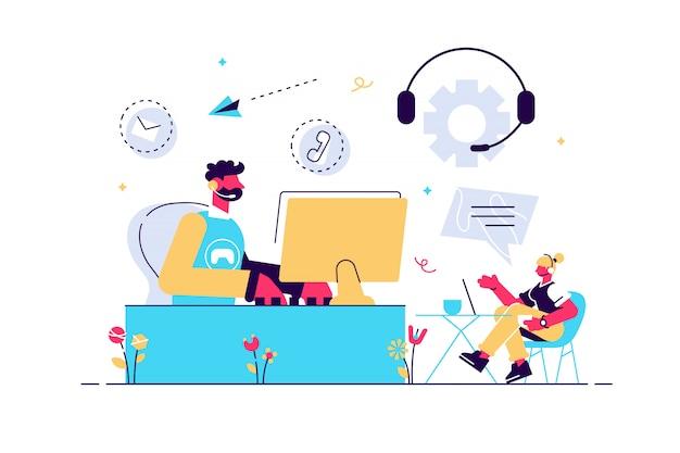 コンピューターで作業するヘッドセットを備えたコンタクトセンターエージェント。コンタクトセンター、顧客サービスポイント、顧客関係管理の概念。生きているサンゴbluevector分離イラスト Premiumベクター