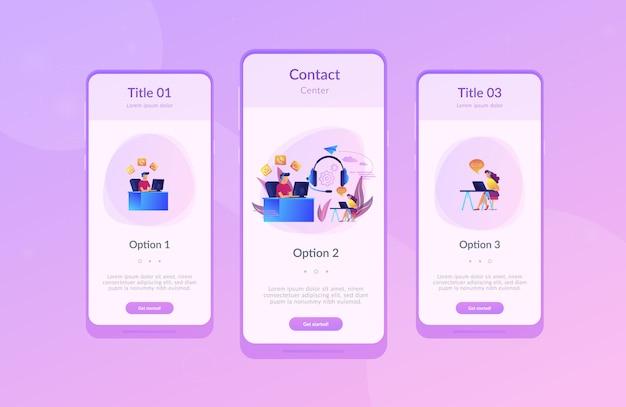 Contact center app interface template Premium Vector
