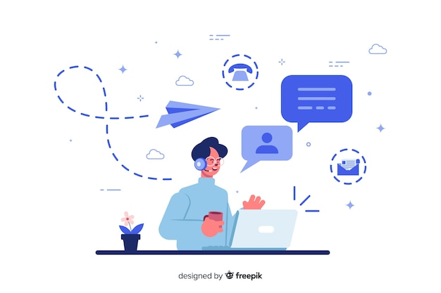 Contact concept for landing page Free Vector