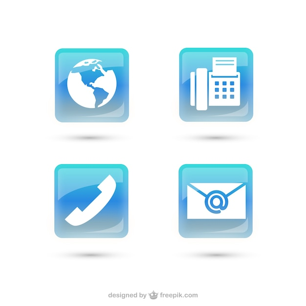 Contact icon vector pack Free Vector