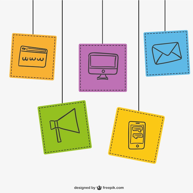 Contact icons pack Free Vector